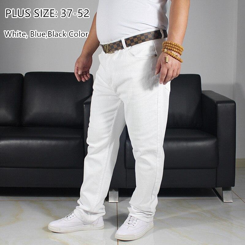 White Jeans Men Plus Size Exra Long 150KG 46 48 50 52 Big Large Denim Pants Man White Trousers Jean High Waisted Stretch Pants