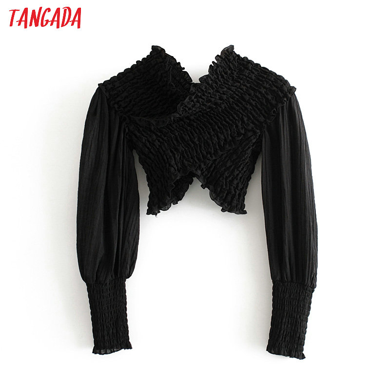 Tangada Women Retro Black Strethy Crop Blouse Long Sleeve Chic Female Sexy Party Shirt Blusas Femininas 3H253