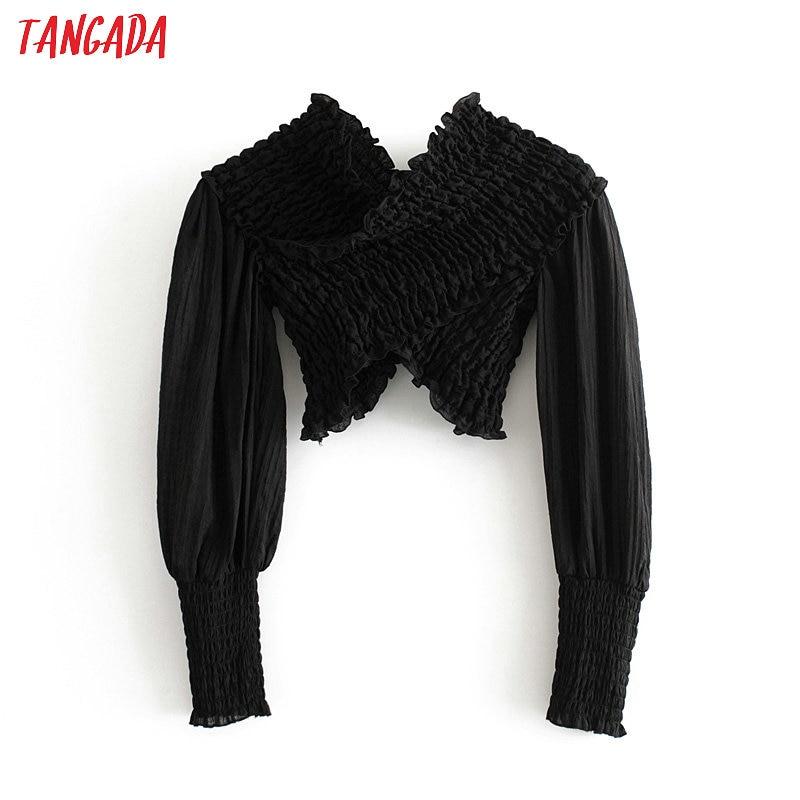 Tangada Women Retro Black Strethy Crop Blouse Long Sleeve Chic Female Sexy Party Shirt Blusas Femininas 3H253