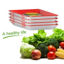 4PCS Clever Tray Creative Food Preservation Plastic Storage Container Set Fresh Microwave Cover