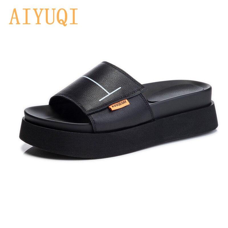 AIYUQI/женские шлепанцы на платформе; Новинка 2021 года; Летние женские шлепанцы с открытым носком; Модная женская обувь из натуральной кожи