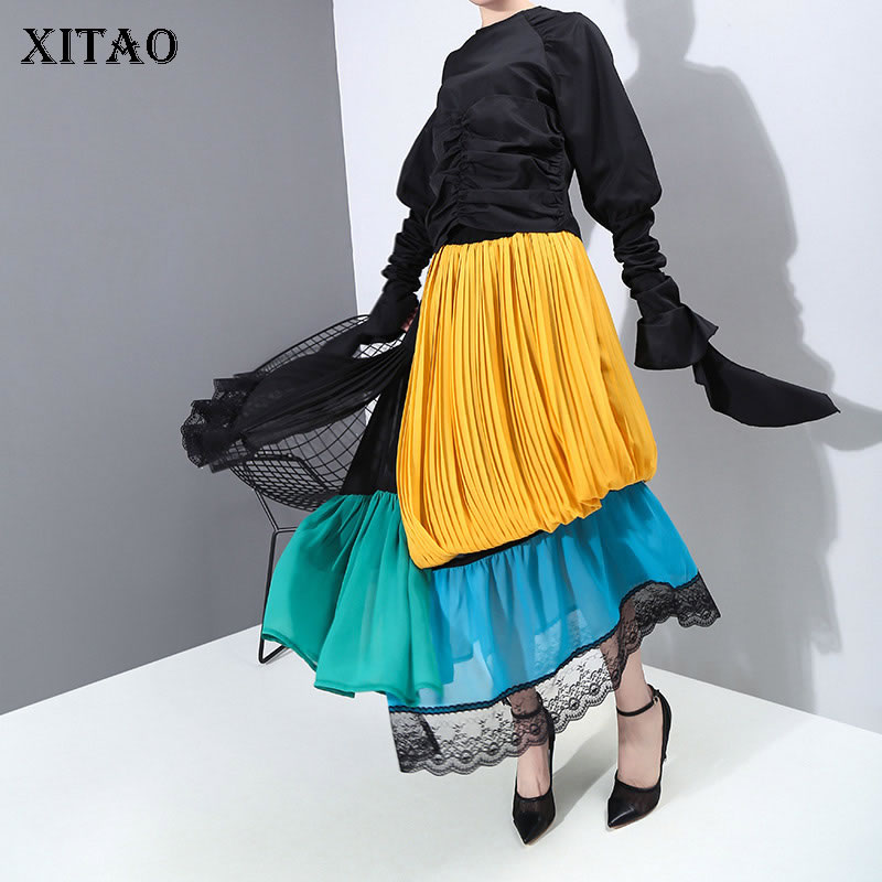 XITAO High Waist Irregular Skirt Fashion New Women 2020 Spring Patchwork Pleated Fashion Small Fresh Casual Loose Skirt DMY3051
