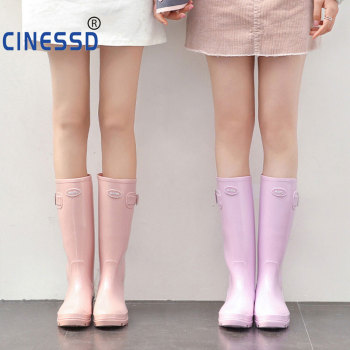 Fashion Rainboots Women Knee-High Water Boots Buckle Long Tube High-grade Waterproof Shoes Womens Rubber PVC Rain Boots 2019 2019 ladies waterproof yellow rain boots female knee high fashion women rubber rain boots girls shoes rainboots pvc rain shoes