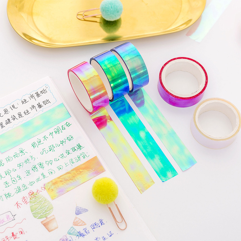 Laser Washi Tape Stationery Scrapbooking Decorative Adhesive Tapes DIY Masking Tape School Supplies Rainbow 1PC Glitter Paper