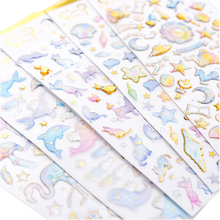 1pcs/lot Kawaii Flamingo Candy Cat Hot Stamping Dream Crystal Bullet Journal Stickers Decoration DIY Sticker Stationery