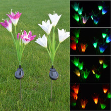2pcs/LotSolar Lights For Garden Decoration LED Solar Lamp Colorful  Lily Flowers Christmas Outdoor Lighting Waterproof Solar Lig