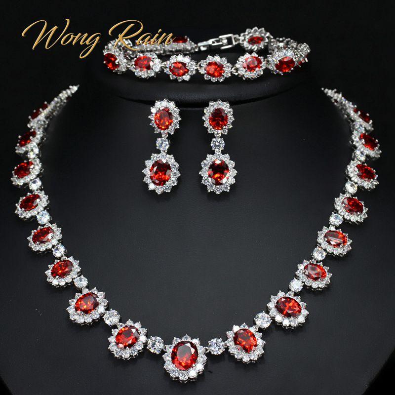 Wong Rain 925 Sterling Silver Ruby Emerald Sapphire Topaz Gemstone Necklace/Earrings/Bracelets Wedding Jewelry Sets Wholesale