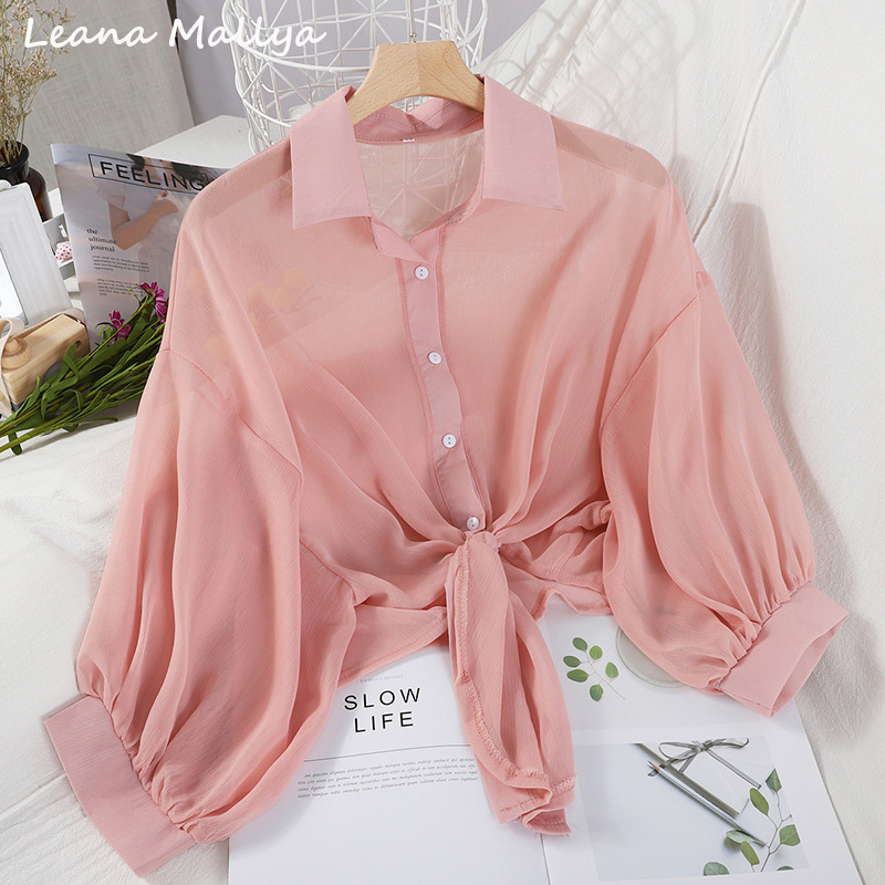 Chiffon short blouse women long sleeve thin vintage crop top solid black white ropa mujer camisas casual korean style clothes