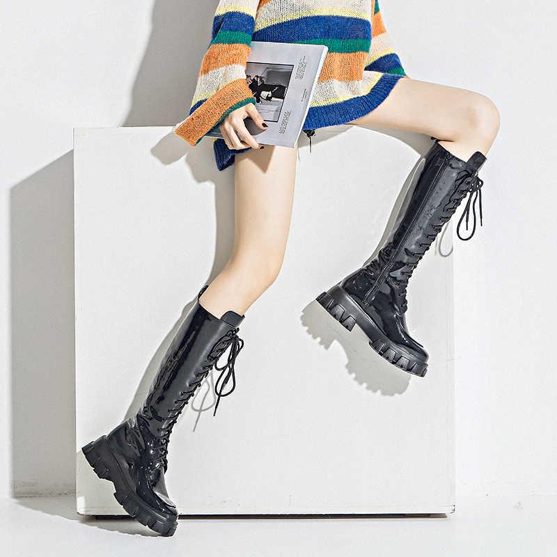 Prova Perfetto 2020 חדש בפלאש בברך מגפי נשים צלב שרוכים עמיד למים Chaussures Femme אישה רזה להתחמם שלג מגפיים