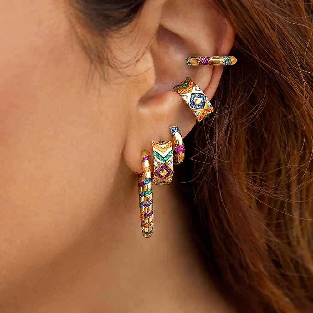 Itenice Ethnic Crystal Earcuff For Women Bohemia Rhinestone Ear Cuff Ear Climber Clip-on Earrings 2020 New Fashion Jewelry Gift