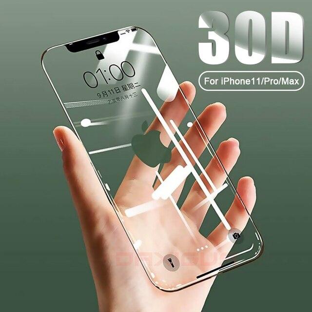 30D フルカバー強化ガラス 11 プロマックスガラス X XS 最大 XR スクリーンプロテクターガラスのために iPhone 6 6s 7 8 プラス X フィルム