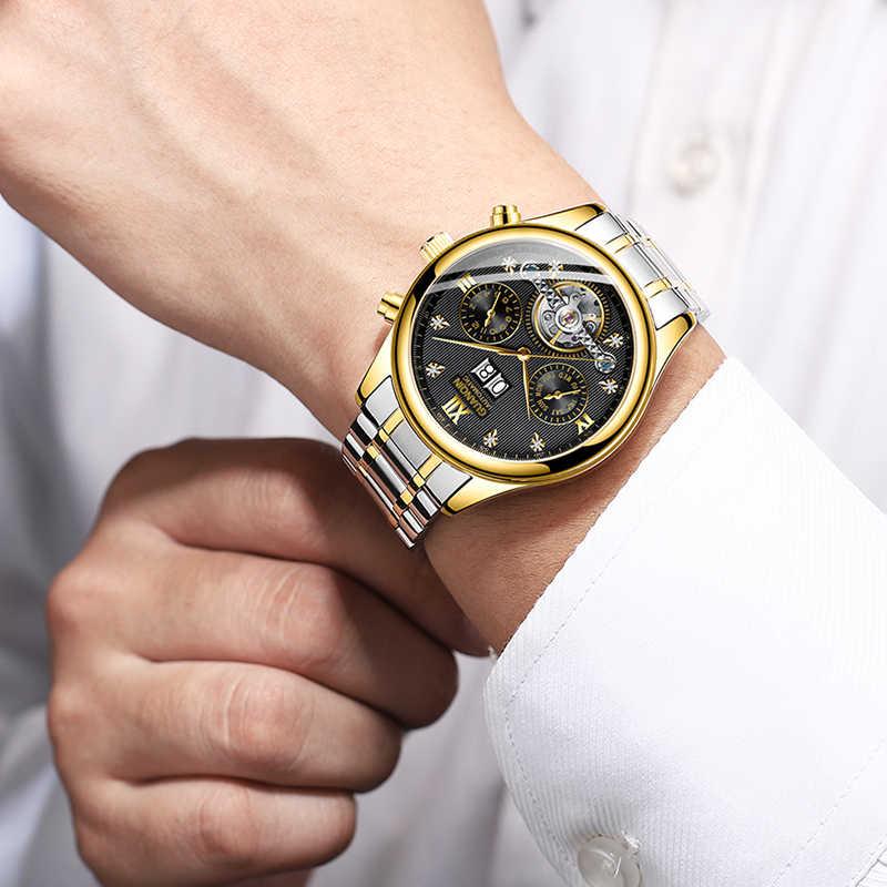 GUANQIN Uomini di orologi Automatici Degli Uomini meccanici di Orologi Vigilanza di Affari degli uomini di top brand di lusso Militare Impermeabile Tourbillon Orologio