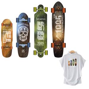 Vintage Skateboard Parches Transfers T-Shirt Jeans Decoration Washable Heat Transfer Diy New Fashion Iron On Patch