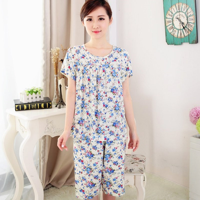 Middle Aged And Elderly People Cotton Silk Pajamas Women's Mom Summer Thin Short Sleeve Cotton Linen Spring And Autumn Grandma H