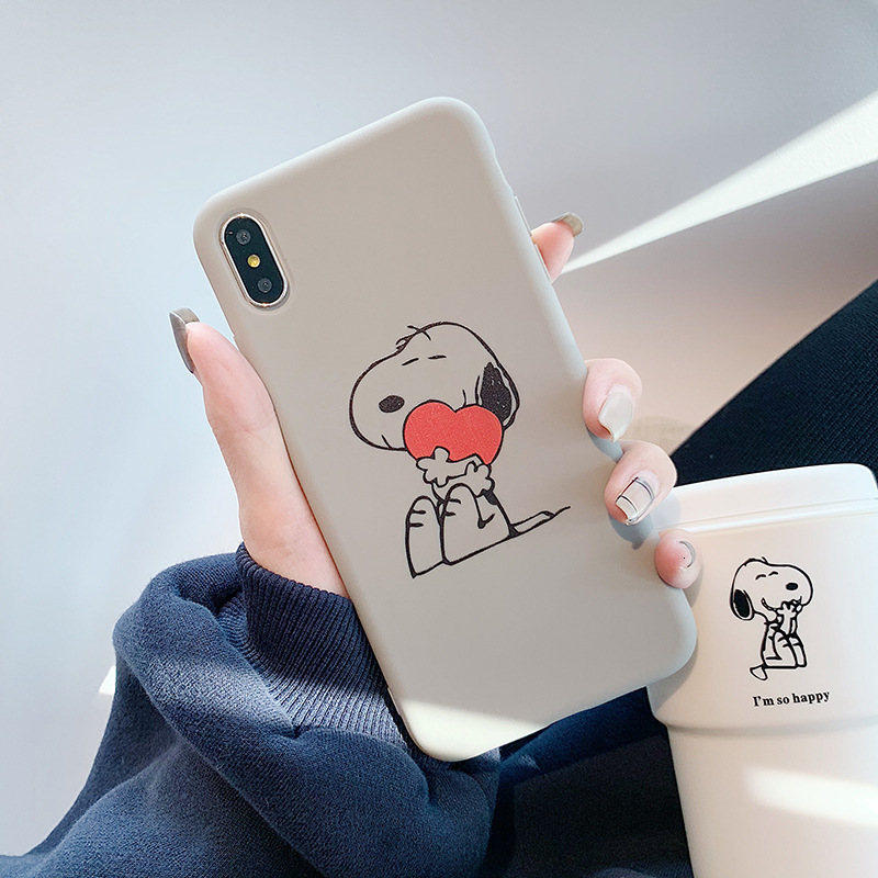 Image 3 - Cute love Snoopy phone case for iPhone11 X XS XR XSMax 8 7 6 6S PluS silicone soft shell couple drop protection cover-in Fitted Cases from Cellphones & Telecommunications