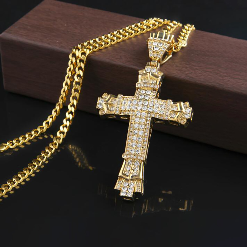 020 NEW Hip Hop Alloy Cross Pendant Necklace Religious Iced Out crystal Necklace Jewely For Men Punk Cuban Chain Gift image