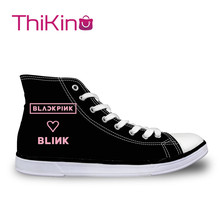 Thikin  High Top Canvas Shoes for Student Blackpink Pattern Sneakers Girls Flat shoes Female Breathable vulcanized
