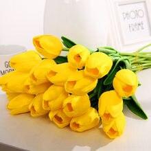 Ramos de flores artificiais de tulipas 10 peças, flores falsas de pu com toque real para decoração de mesa em casa e casamento com 10 peças