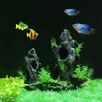 Mountain View Aquarium Landscape With 2pc Small Fish Cave  3