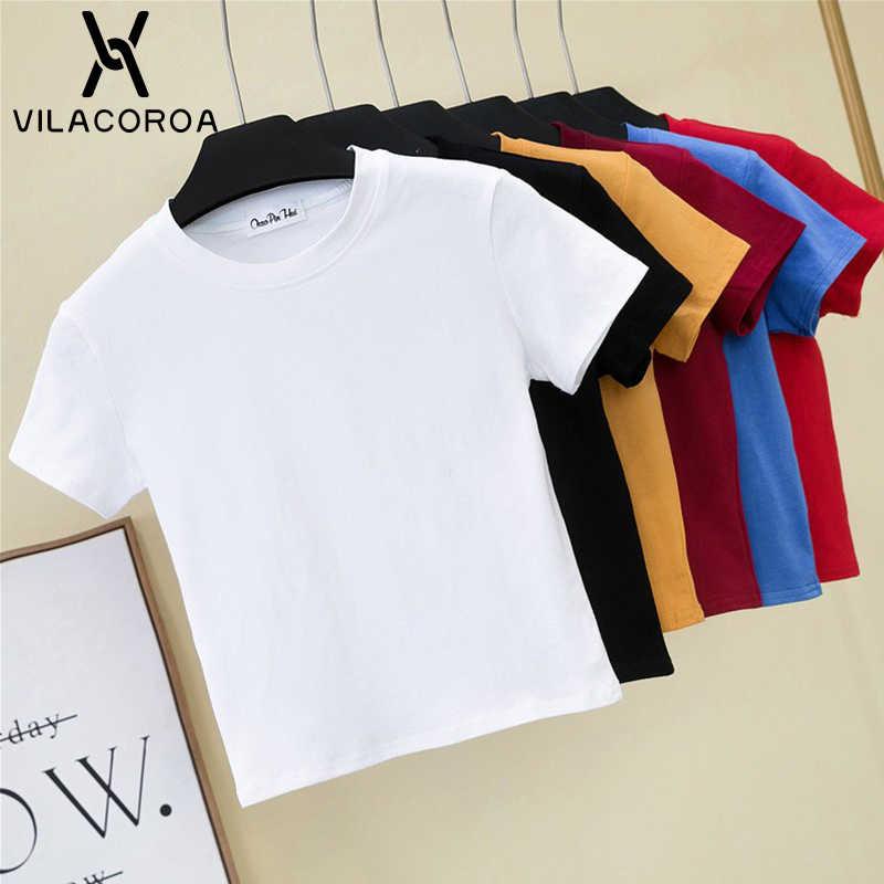 자르기 탑 t-셔츠 여성 솔리드 코 튼 o-넥 반팔 t-셔츠 여성을위한 높은 허리 슬림 짧은 스포츠 블랑 Femme t-셔츠