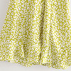 Za Lemon Green Print Mini Woman Dress Summer Puff Sleeve Floral Dresses V-neck Pleated Waist Casual Vintage Dress Women Ruffle 6