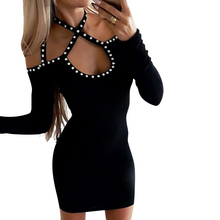 Women Long Sleeve Club Dress Sexy Hollow Out Black Mini Bandage Dresses Female Beading Streetwear vestido D30
