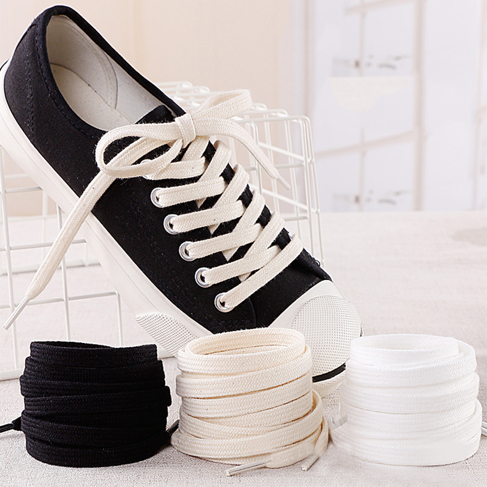 Cotton Shoelaces Double Layer Soft Flat Shoelace For Sneaker Canvas Leather Shoe Laces Black White Beige 100cm 120cm 140cm 160cm
