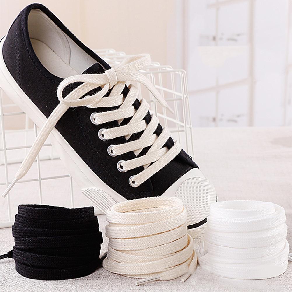Cotton Shoelaces Double Layer Soft Flat Shoelace For Sneaker Canvas Leather Shoe Laces Black White Beige 100cm 120cm 140cm 160cm