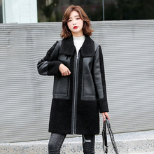 Outwear Jackets Long-Coats Motorcycle Winter Women Sheepskin Lambskin-Wool Black Thick