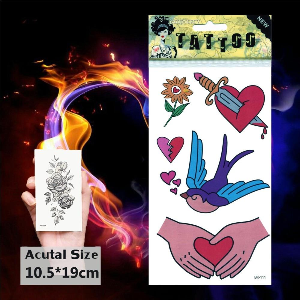 Flying Bird Cartoon Temporary Tattoo Broken Heart Tattoos Sticker Love French Fries Women Body Sunflower Knife Art  Tatoo Kids