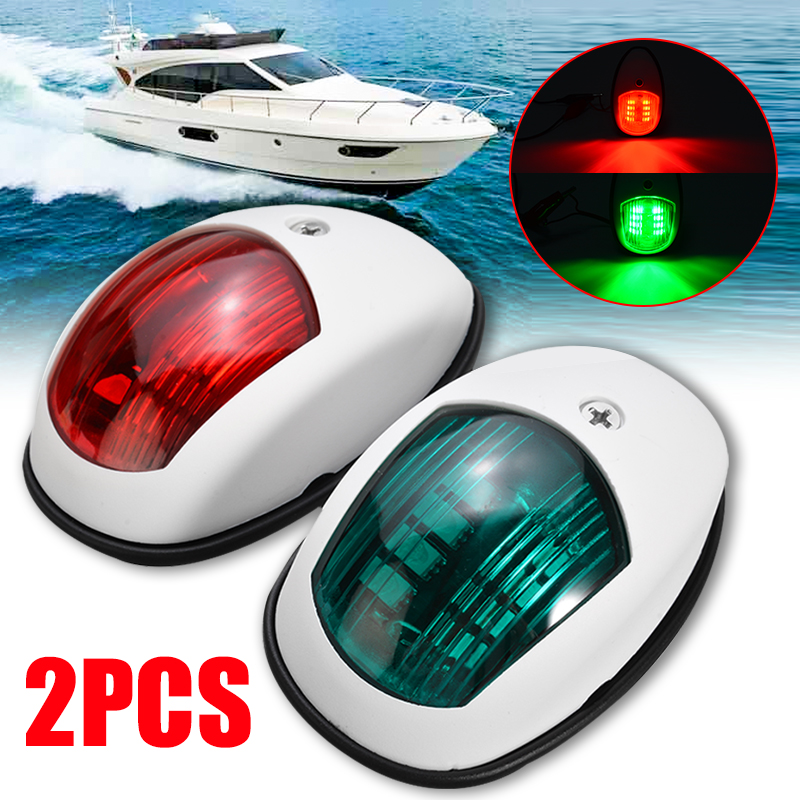 2pcs Universal Navigation Light Lamp For Marine Boat Yacht LED Bulb Red/Green Housing ABS Plastic Signal Light 10V-30V