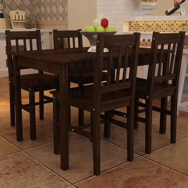 Wooden Dining Table with 4 Chairs 2