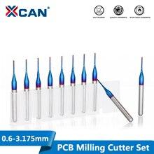 XCAN 10Pcs 3.175 Shank Blueเคลือบคาร์ไบด์ตัดCNC Router Bitsแกะสลักเครื่องตัดขอบEndmill 0.8 3.0 มม.