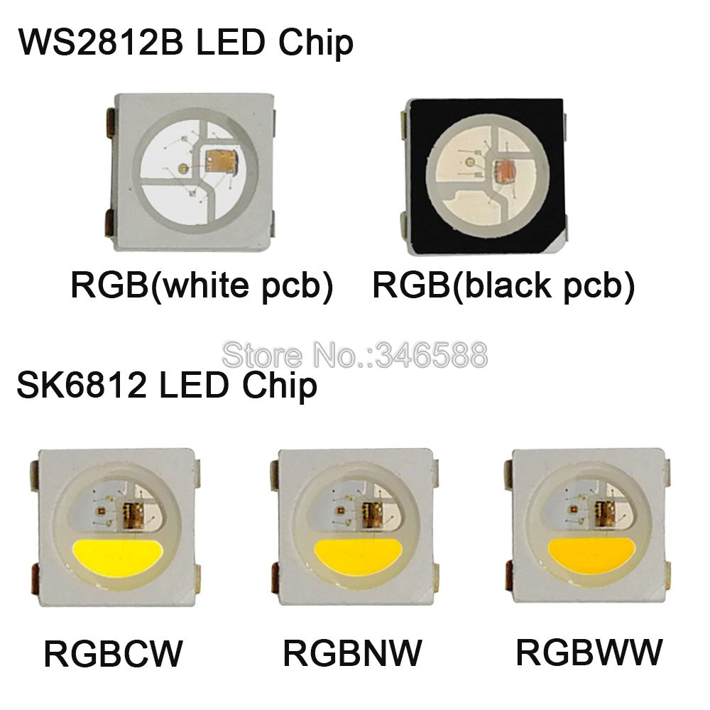 10-1000pcs WS2812B RGB LED Chip 5050 SMD Black/White PCB SK6812 RGBCW RGBNW RGBWW Individually Addressable Chip Pixels 5V