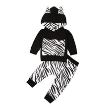 Newborn Toddler Boy Clothes Zebra Hoodie Long Sleeve T-shirt Sweatshirt Long Trousers Autumn Winter Sweatsuit Outfit Set(China)