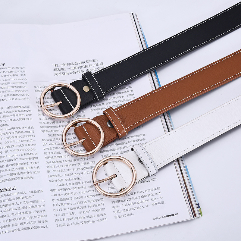 Fashion PU Leather Belt For Women Round Buckle Solid Color Waist Belts  Casual Vintage Adjustable Retro Simple Waistband
