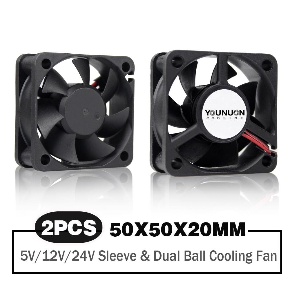 2 шт. 50 мм 5 см 50x50x20 мм DC бесщеточный вентилятор 5V/12V/24 охлаждающий вентилятор Cooler для портативных ПК компьютер чехол Вентилятор охлаждения ос...