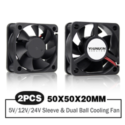 2 Pieces 50mm 5cm 50x50x20mm DC Brushless Fan 5V/12V/24 Cooling Cooler Fan for PC Laptop Computer Case Cooling Fan Axial Fans