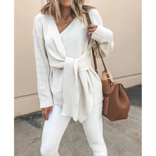 V-Neck Tie Long-Sleeved Blouse Woolen Coat White Lady Elegant Long Sleeve Surplice Peplum Solid Blouse Autumn Sexy Women Tops 11