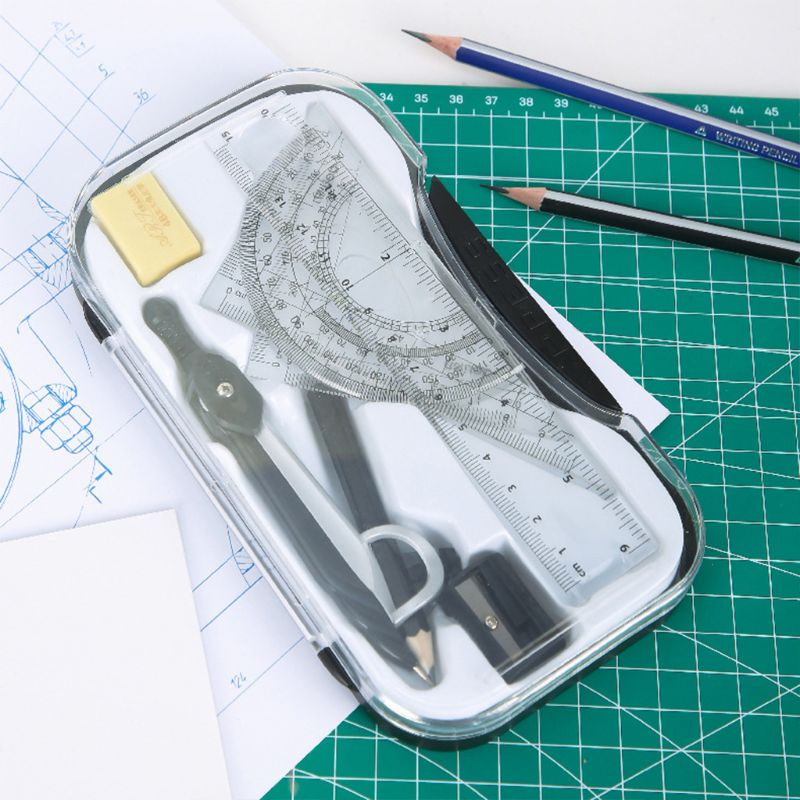 7pcs/set Math Geometry Protractor Drawing Compass Ruler Triangle Math Study Tool Kit School Supplies