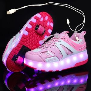 Детские светящиеся кроссовки с двумя колесами; Цвет золотой, розовый светодиодный светильник; Обувь для катания на роликах; Детская обувь с ...