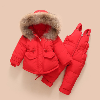 2019 Children's down jacket suit new winter baby suspender trousers male child girl raccoon hair ski suit 1