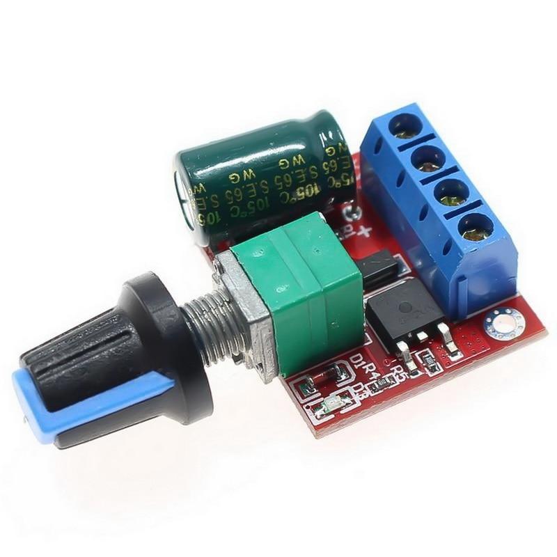 Mini 5A 90W PWM 12V DC Motor Speed Controller Module DC-DC 4.5V-35V Adjustable Speed Controller Control Governor Switch 24V