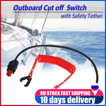 Universal Boat Motor Engine Emergency Kill Stop Switch Outboard Cut off Switch with Safety Tether Lanyard For Yamaha /Tohatsu image