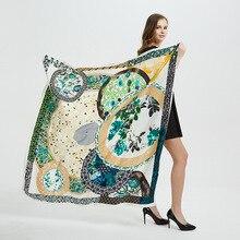 2020 Nieuwe Zijden Sjaal Vrouwen Grote Sjaals Stola Print Vierkante Sjaals 130*130Cm Echarpes Foulards Femme Wrap Bandana