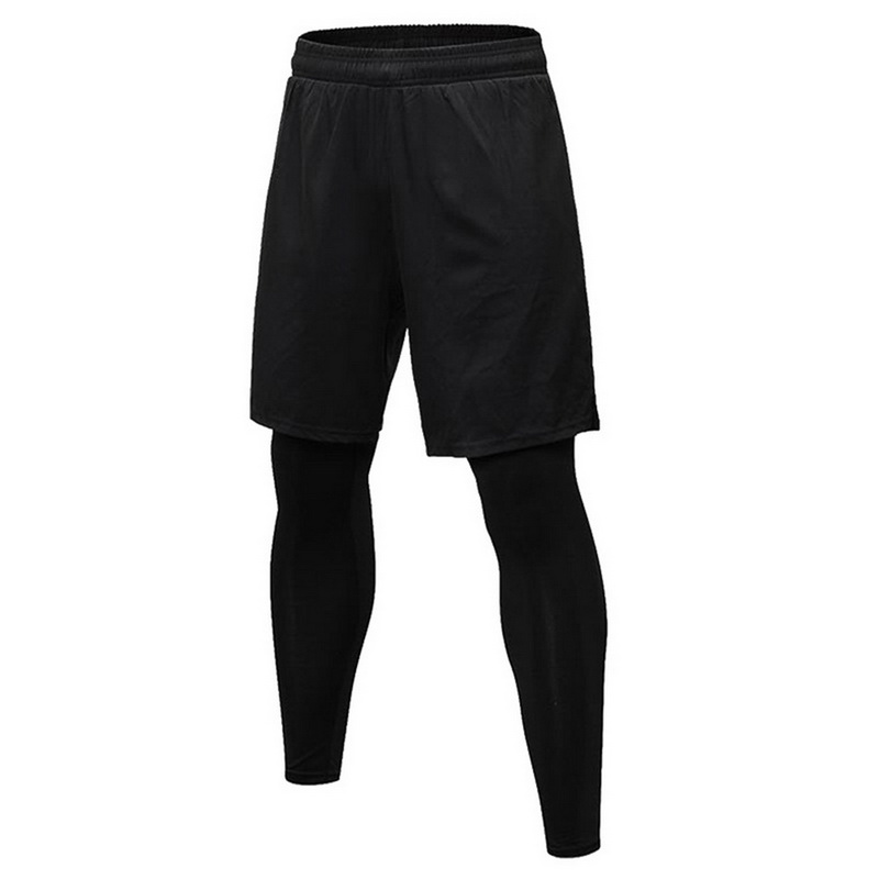 2020 Two Piece Compression Pants Men Shorts+Leggings Sportswear Gym Fitness Tights Sports Trouser Breathable Running