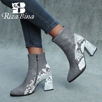 RIZABINA Women Ankle Winter Thermal Boots Rough Heel Zipper Short Plush Shoes Women Snakeskin Pointed Toe Boots Size 32 43