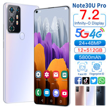 2021 Global Version Note30U Pro 7.2Inch Smartphone Full Screen Latest 10 Core 5800mAh 12+512GB Face ID 4G 5G Android Cellphone