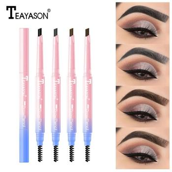 цена на TEAYASON Double-headed Eyebrow Pencil Natural Long-lasting Waterproof Automatic Eyebrow Pencil Triangular Eyebrow Pencil TSLM1