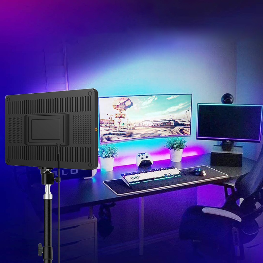 Hd48a6e13b07f4ebda7fefdd3111b901fF Dimmable LED Video Light Panel EU Plug 2700k-5700k Photography Lighting For Live Stream Photo Studio Fill Lamp Three Color